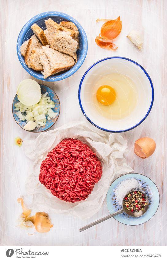 Buletten Zutaten in alten Schüssel. weiß rot Gesunde Ernährung gelb Leben Lebensmittel Lifestyle Freizeit & Hobby Design Kräuter & Gewürze Gemüse Bioprodukte