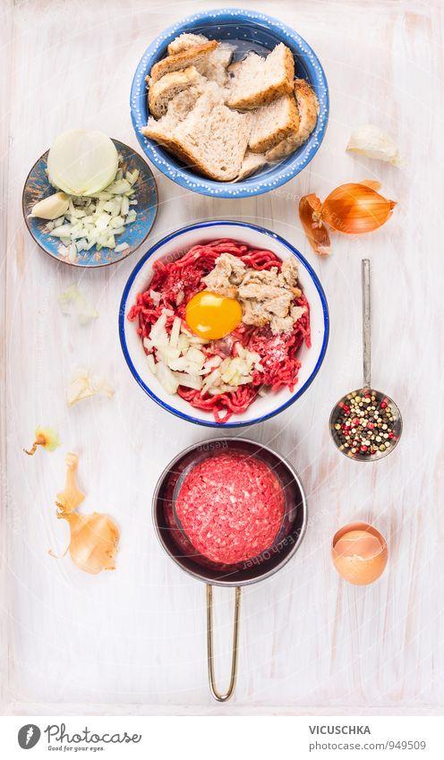 Zutaten für Hackfleisch Buletten. Gesunde Ernährung Stil Lebensmittel Design Kochen & Garen & Backen Küche Kräuter & Gewürze Gemüse Bioprodukte Geschirr