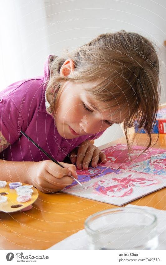 Malen nach Zahlen schön Farbe Mädchen Freude Kunst rosa Schule Freizeit & Hobby Kindheit ästhetisch Kreativität lernen Idee malen Bildung Gemälde