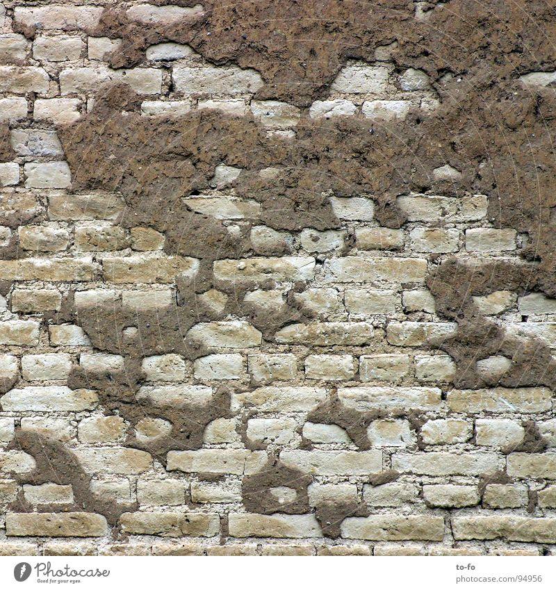 Wand Mauer Backstein Putz Ruine Verfall Renovieren Baustelle grau Handwerk verfallen alt Strukturen & Formen