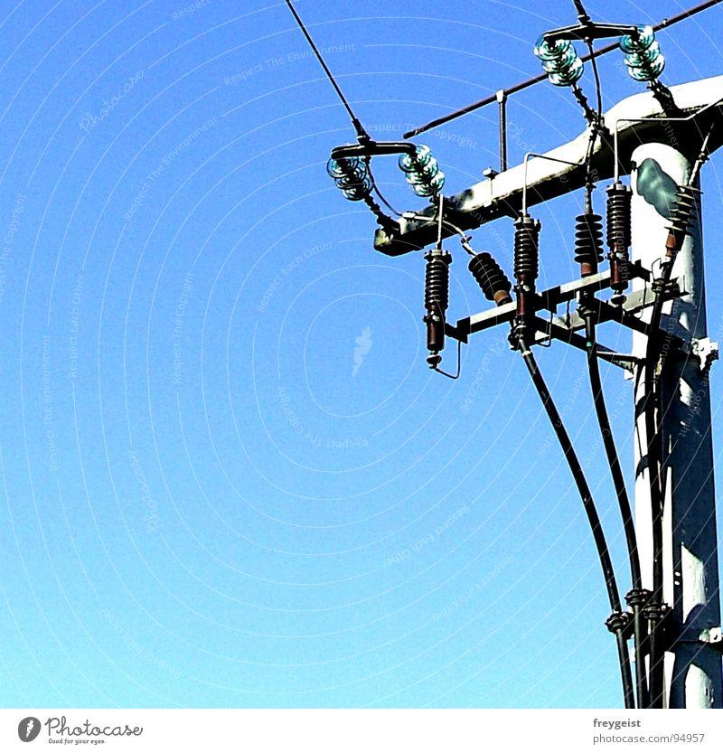 Electricity II Elektrizität Strommast Versorgung Himmel Dienstleistungsgewerbe electricity Energiewirtschaft blau sky