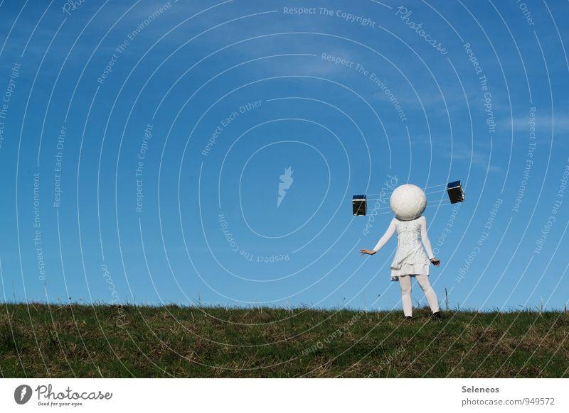 Satellitenbild Mensch Himmel Ferne Gras Horizont Luftverkehr Technik & Technologie Kommunizieren Ausflug Zukunft Weltall Wissenschaften Informationstechnologie