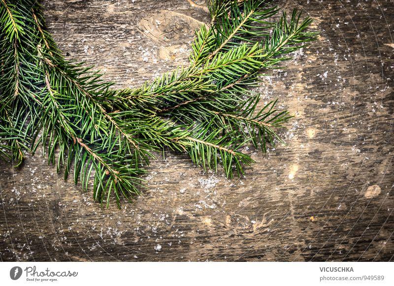 Tannenbaum Kranz. Design Weihnachten & Advent Natur Mauer Wand Holz Ornament retro grau grün Tradition Hintergrundbild horizontal Symbole & Metaphern Zweig