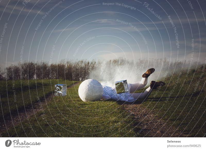 Bruchpilot Technik & Technologie Wissenschaften Fortschritt Zukunft High-Tech Mensch 1 Umwelt Natur Landschaft Himmel Wolken Horizont Gras Park Wiese fallen