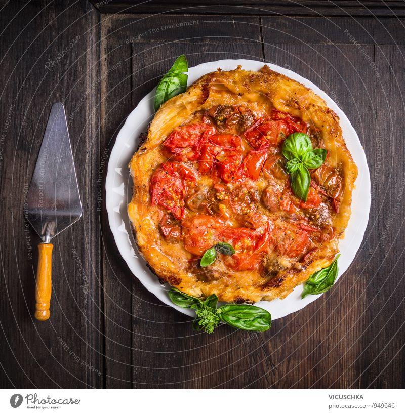 Tomaten Tart Tatin. weiß rot gelb Stil Lifestyle Lebensmittel braun Ernährung Tisch Kochen & Garen & Backen Kräuter & Gewürze Gemüse Bioprodukte Geschirr Teller