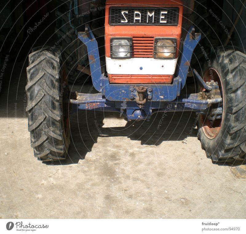 out of the dark Sonne Verkehr Bodenbelag Bauernhof Landwirtschaft Rad Traktor blau-rot