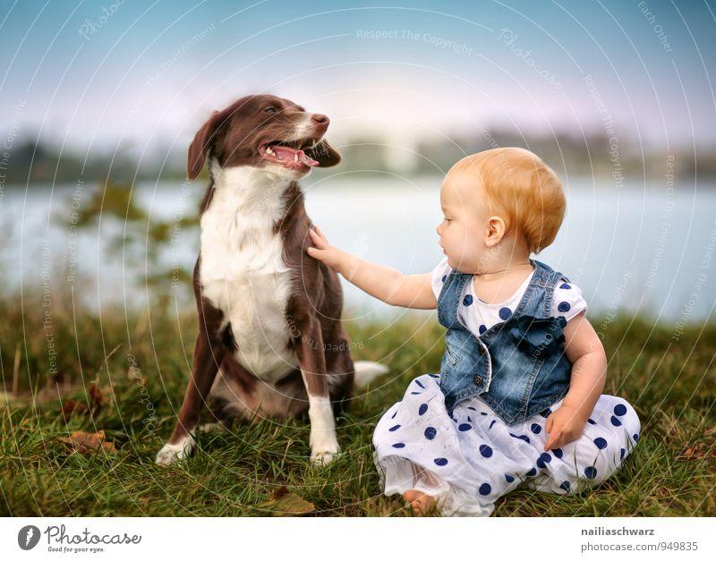 Freunde Hund Mensch Kind Natur blau Mädchen Tier feminin Spielen See braun Freundschaft Zusammensein Kindheit Fröhlichkeit Bekleidung
