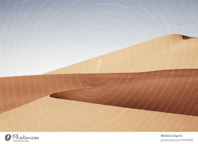 Wüste Umwelt Sand Klima Schönes Wetter Wärme Dürre Sahara heiß blau braun gelb gold Warmherzigkeit Erosion Düne geschwungen wellig Kurve trocken Farbfoto