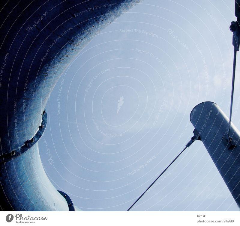 SPANNUNGSBOGEN Himmel blau Ferien & Urlaub & Reisen Sommer Freude schwarz Spielen Architektur grau Kunst Arbeit & Erwerbstätigkeit Freizeit & Hobby Elektrizität Kreis Industrie rund
