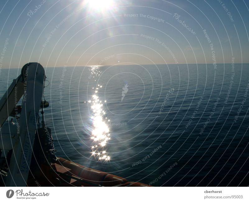 Sonnenuntergang auf hoher See Meer Horizont Wasserfahrzeug Himmel Beleuchtung