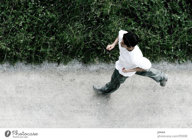 Absicht I Ausdauer Joggen Gesundheit Gras Grenze Jogger Junger Mann Kopfhörer Linientreue Am Rand dünn Rausch T-Shirt Wegrand Wiese Spielen Konzentration