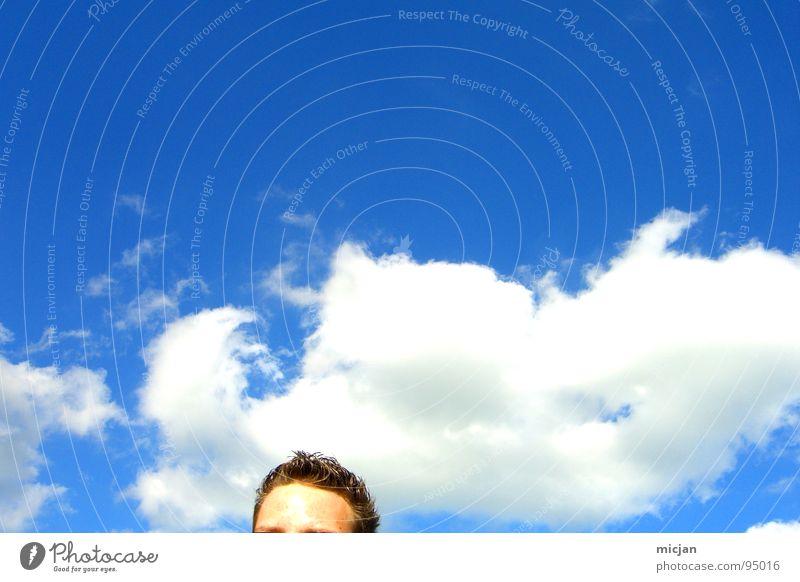 HAPPY 50 - KOPFQUALM Mensch Himmel Mann blau weiß Wolken Auge Bewegung Denken Haare & Frisuren Freiheit braun hell frei stehen Rauch