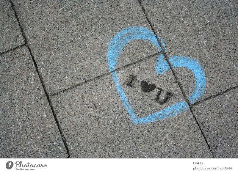 Kaugummi love Menschenleer Verkehrswege Wege & Pfade Stadt blau schwarz Gefühle Liebe Kommunizieren Straßenkunst Herz Information bemalt Bürgersteig Beton