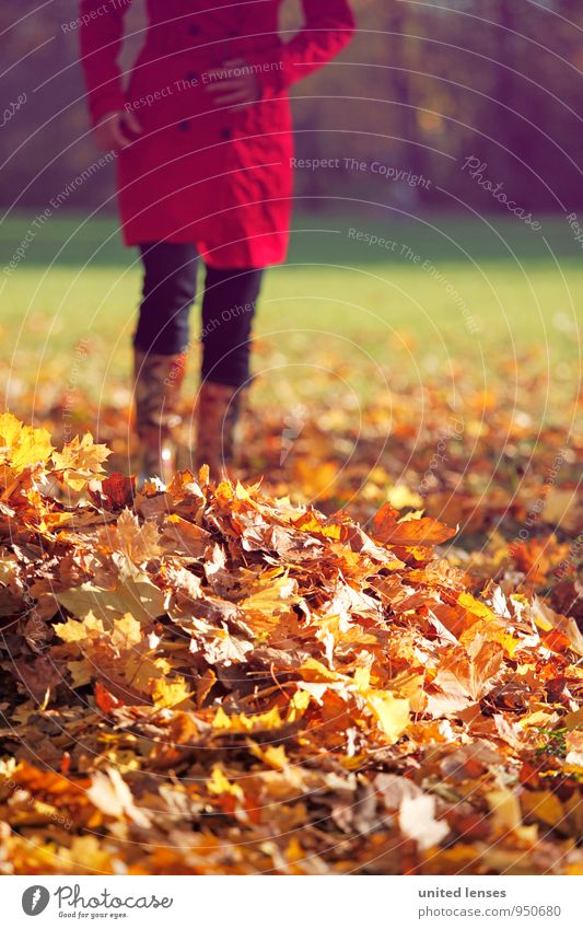 AK# Herbstruhe Frau rot Blatt Kunst Zufriedenheit ästhetisch Spaziergang Herbstlaub herbstlich Mantel Herbstfärbung Herbstbeginn Herbstwetter Laubwald