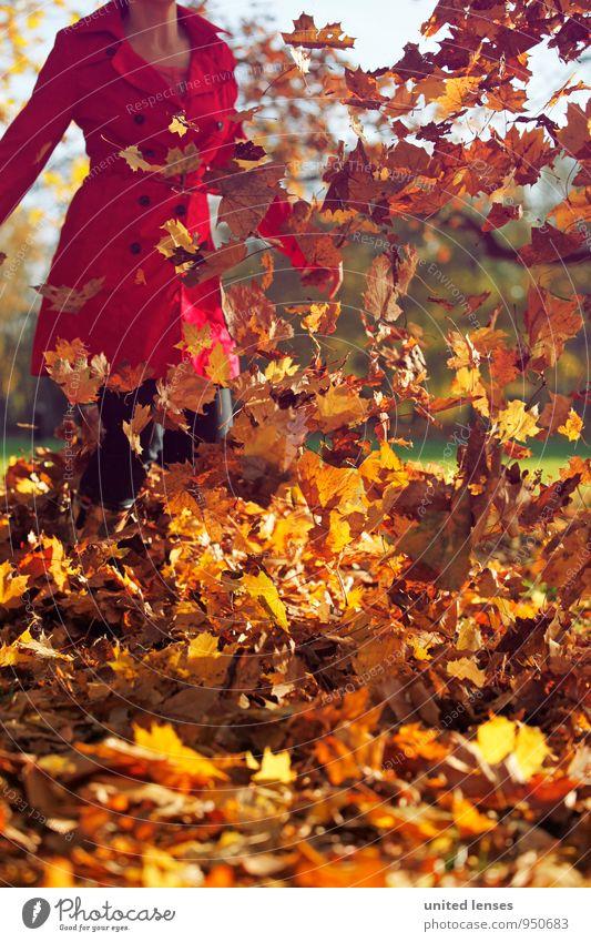 AK# Herbstknall Frau rot Blatt Kunst Mode Zufriedenheit ästhetisch Herbstlaub fliegend herbstlich Mantel wehen Herbstfärbung Herbstbeginn Herbstwetter