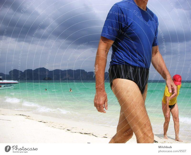 Oldschool Babes Meer blau Strand Ferien & Urlaub & Reisen Wolken gelb laufen türkis Gewitter Thailand Badehose old-school Los Angeles Krabi