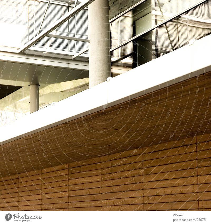 parallelen Geometrie Holz Fenster Stil einfach sehr wenige Gebäude gerade modern Linie Pfosten Lamelle holzlamellen Glas Architektur
