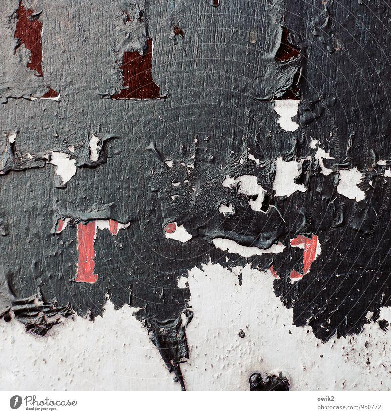 Farbraum Kunst Kunstwerk Gemälde Farbstoff Farbrest Kunststoff Zeichen einfach grau rot magenta Farbschicht Kruste bizarr Farbfoto Gedeckte Farben Nahaufnahme