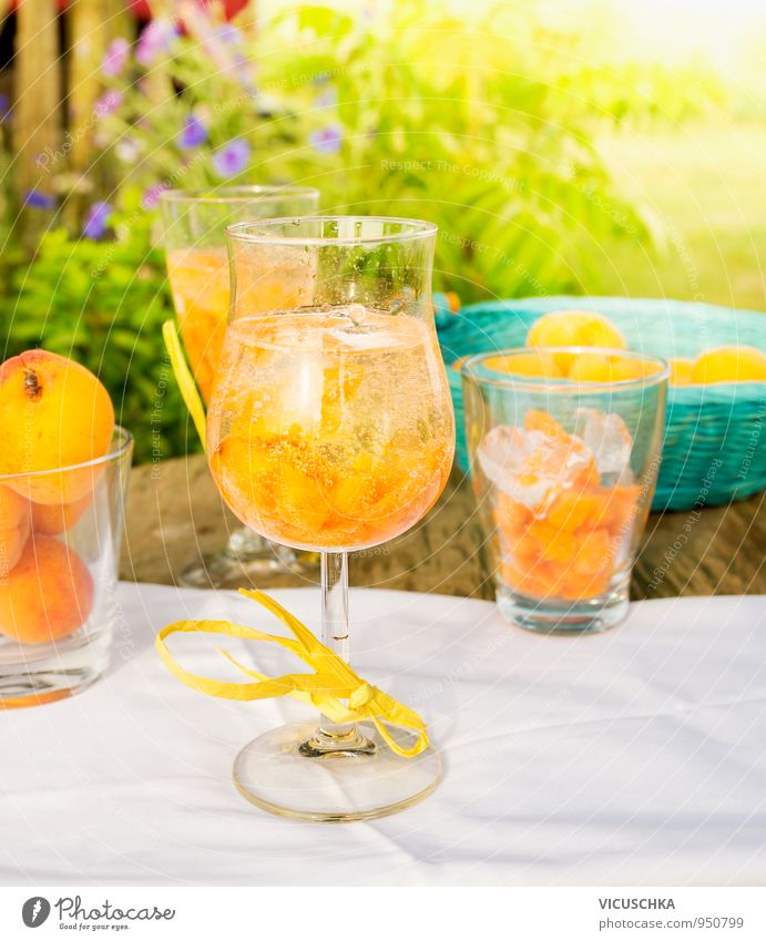Glas mit Aprikosen Bowle Getränk auf Gartentisch Lebensmittel Frucht Dessert Ernährung Erfrischungsgetränk Limonade Saft Alkohol Sekt Prosecco Geschirr