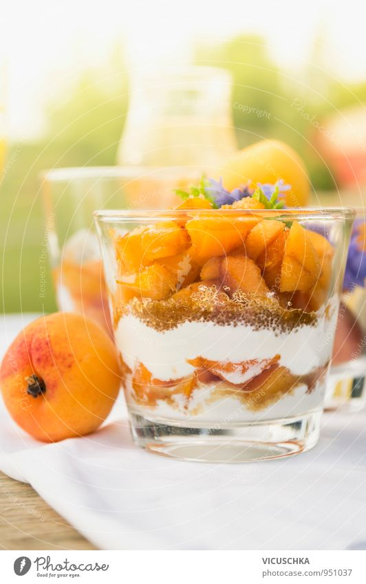 Aprikose Dessert mit Joghurt und braunem Zucker Lebensmittel Frucht Süßwaren Ernährung Frühstück Büffet Brunch Bioprodukte Vegetarische Ernährung Diät Glas