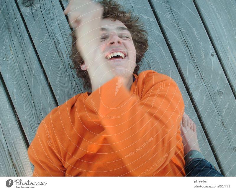 freude Mensch Mann Freude Bewegung lachen Fuß See orange Steg Pullover