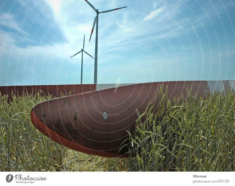 montage Windkraftanlage Mühle alternativ Umweltschutz ökologisch Montage Konstruktion Entwicklung erschließen Neubau Wolken Ähren Maschine Landleben Feld Weizen