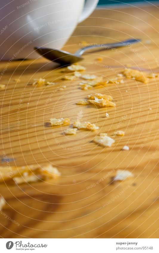 krümelkram Krümel Tasse Tisch Löffel Holz weiß Gastronomie dreckig Ernährung