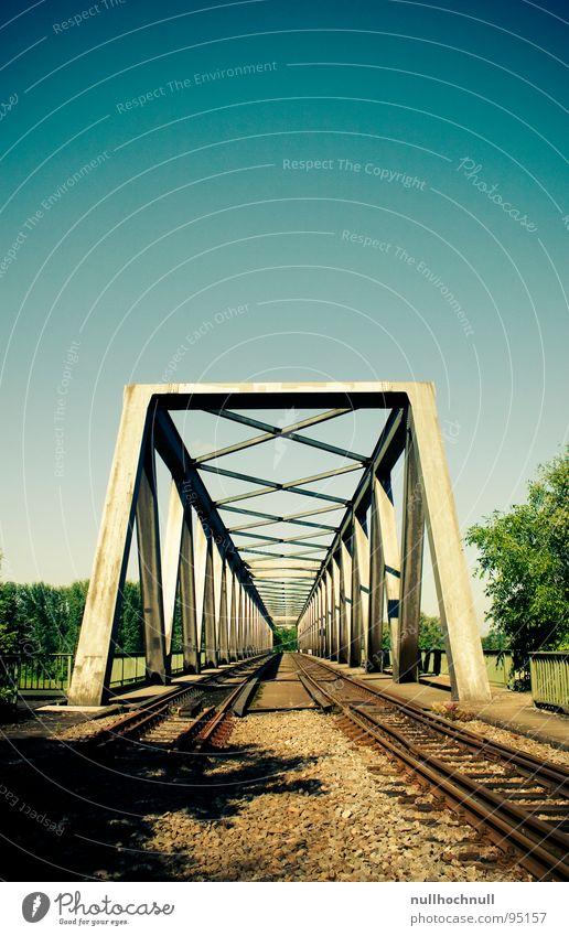 rheinbrücke Himmel blau Stein Metall Eisenbahn Brücke Fluss Gleise Stahl Schönes Wetter Rhein Eisenbahnbrücke
