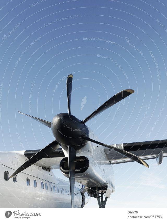 Turboprop Ferien & Urlaub & Reisen blau weiß Sommer Ferne schwarz kalt grau glänzend Kraft Luftverkehr Verkehr Geschwindigkeit Technik & Technologie Flugzeug