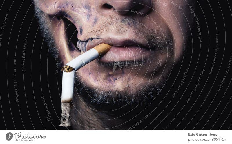 Smoking kills schön Gesicht Gesundheit Gesundheitswesen Krankheit Rauchen Rauschmittel Alkohol Medikament Halloween Mensch bedrohlich dreckig dunkel dünn Ekel