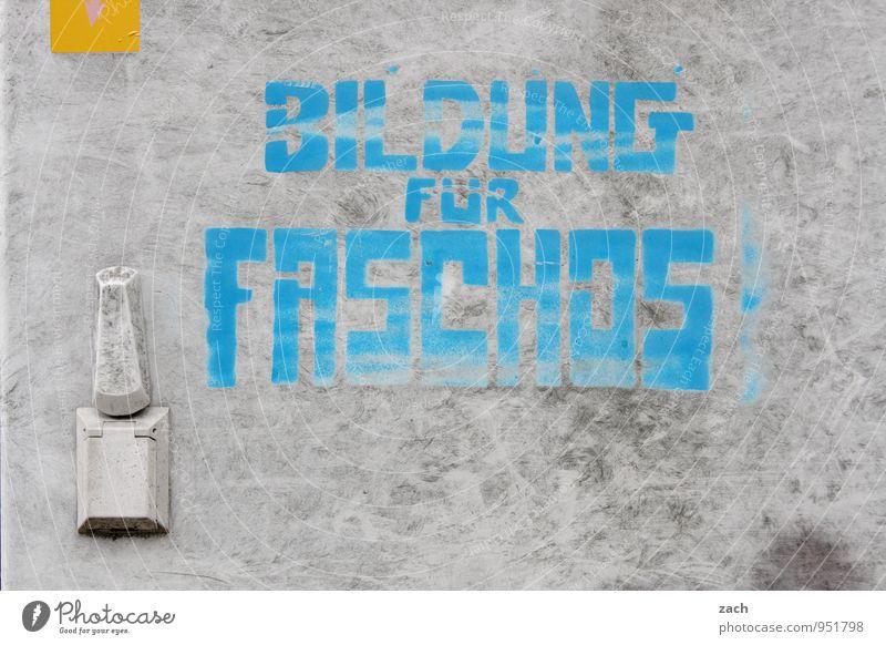 Sozialkunde blau Stadt Wand Graffiti Mauer grau Denken Fassade Schilder & Markierungen Schriftzeichen bedrohlich lernen Zeichen Bildung Erwachsenenbildung