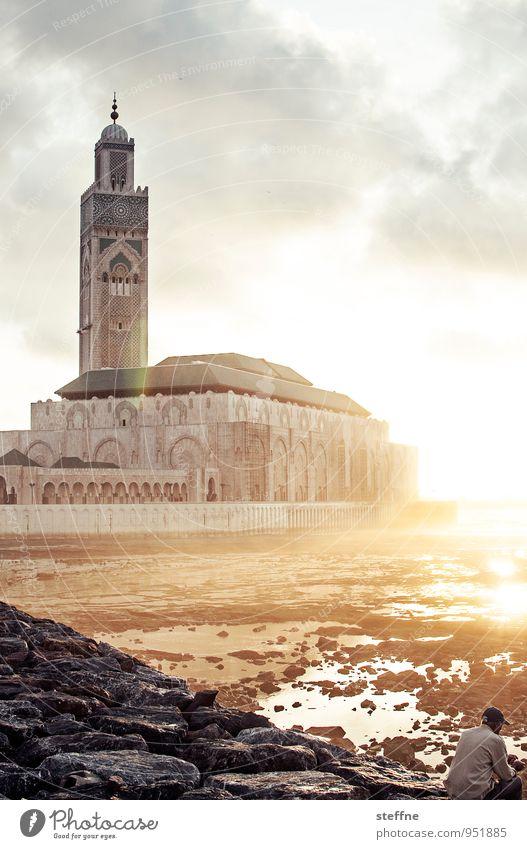 Around the World: Casablanca Religion & Glaube Islam Marokko Moschee Sonnenuntergang Spiritualität Textfreiraum oben