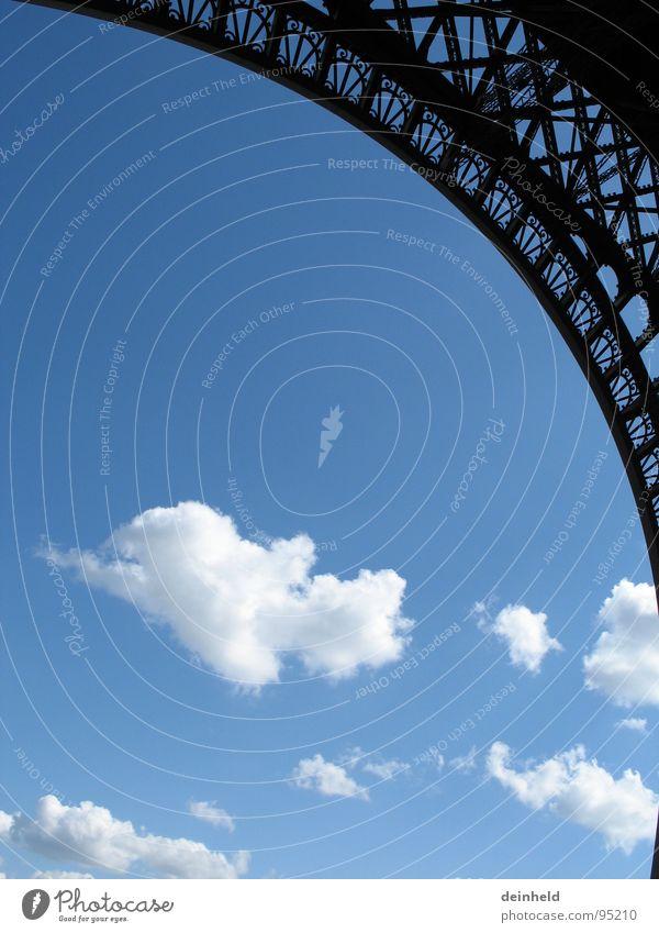 Wolken + ) Himmel blau Kreis modern rund Paris Bauwerk Messe Wahrzeichen Ausstellung Bogen Baugerüst perfekt Frankreich Tour d'Eiffel
