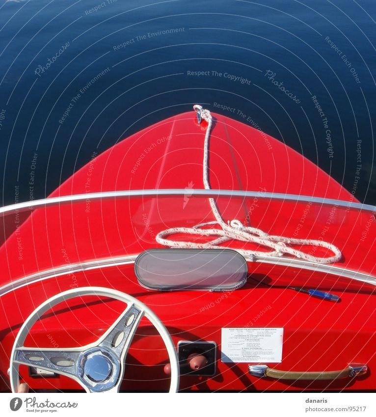 Ich hab ein knallrotes ...Boot... Erholung See Wasserfahrzeug fahren Wassersport Kahn Jolle blau-rot