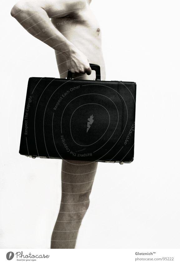 Aktkoffer Mann Hand Knie Finger Koffer Tasche Leder Schulter Griff stehen Mensch Gliedmaßen Haut Arme Beine Lederkoffer