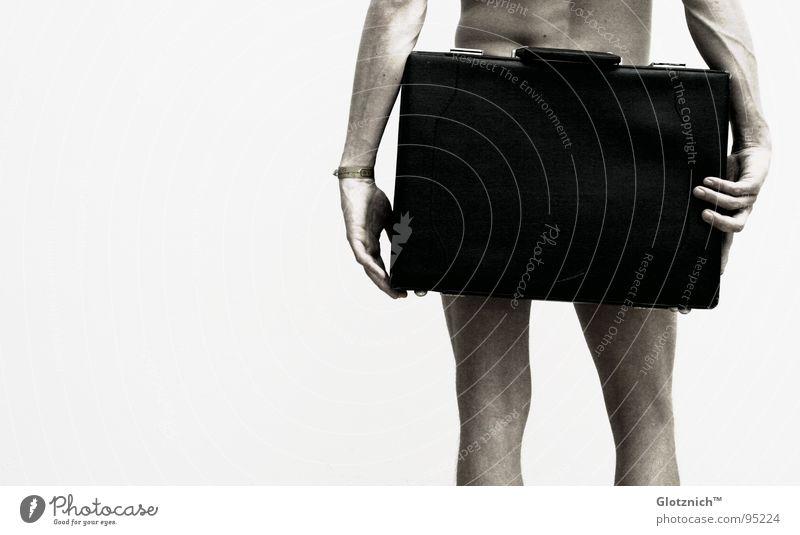 Aktkoffer II Mensch Mann Hand Beine Business Haut Arme Rücken Finger stehen Leder Tasche Koffer Griff Knie Gliedmaßen
