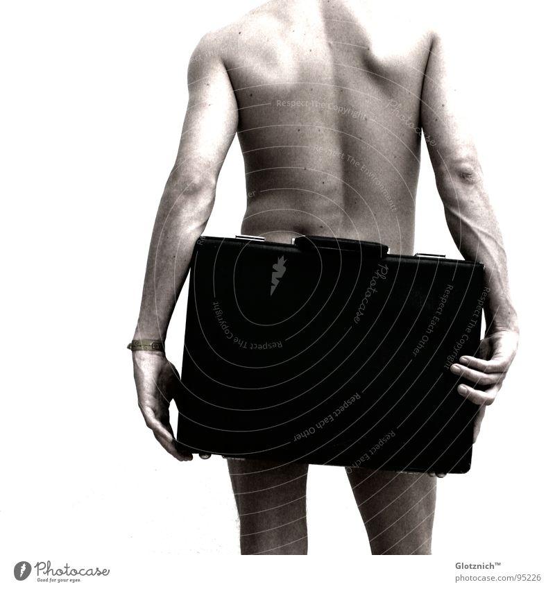 Aktkoffer IV Mensch Mann Hand Beine Business Haut Arme Rücken Finger stehen Leder Tasche Schulter Koffer Griff Knie