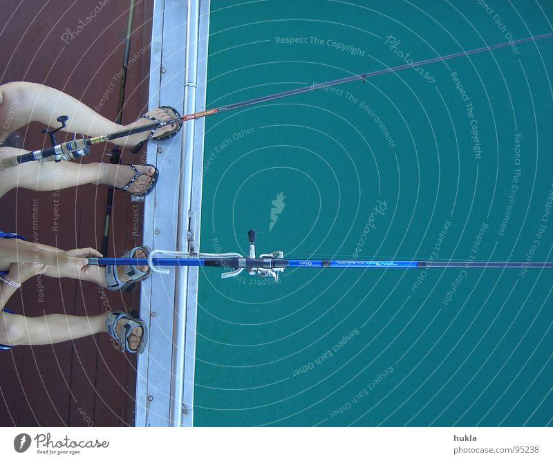 zweisam fischen Wasser Meer Spielen Wasserfahrzeug Zusammensein Freizeit & Hobby Italien Angeln Angelrute