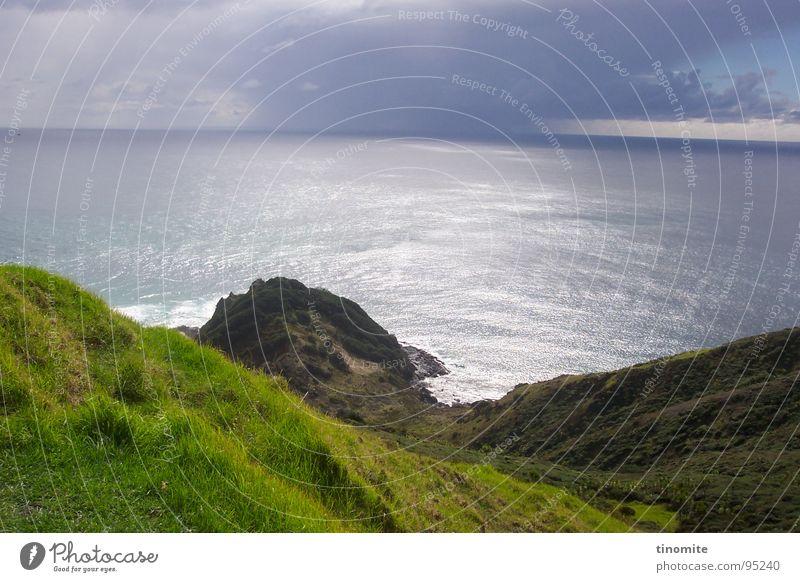 Ruhe vor dem Sturm Wasser Meer ruhig Wolken Landschaft Horizont Felsen Aussicht Australien Berghang Klippe Neuseeland