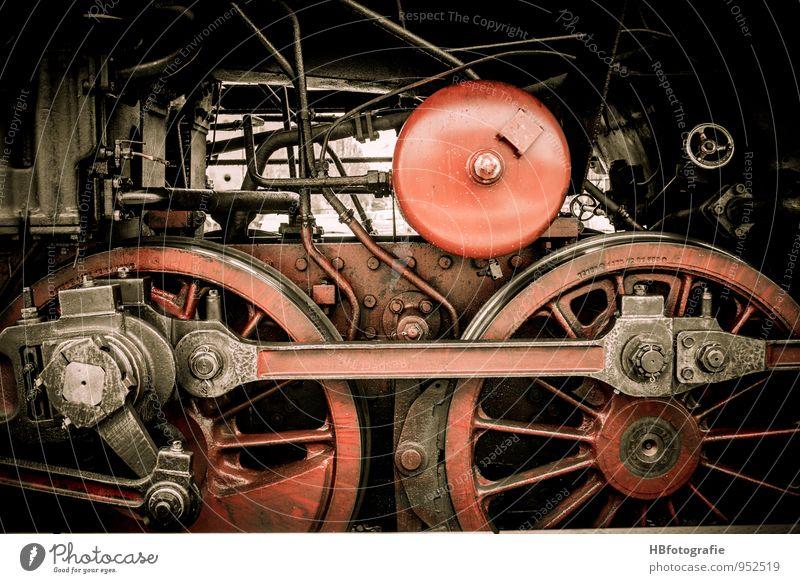 Räderwerk Maschine Verkehrsmittel Bahnfahren Fahrzeug Schienenverkehr Eisenbahn Lokomotive Dampflokomotive Bahnsteig rot Energie Kraft Güterverkehr & Logistik