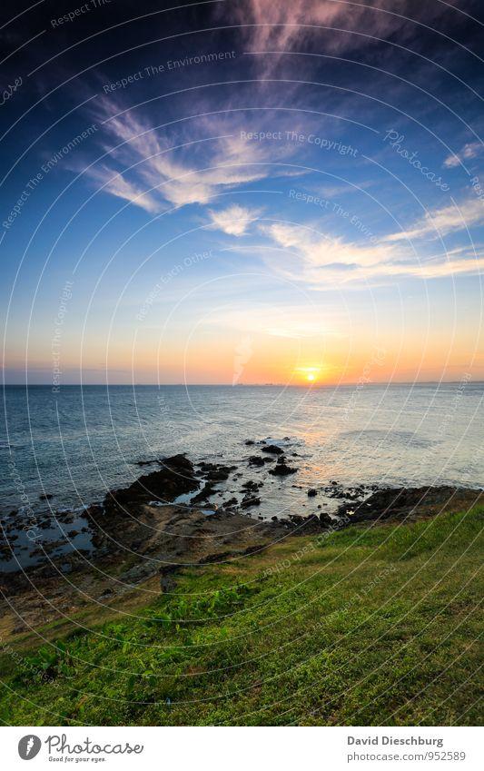 Am Farol de Bahia Ferien & Urlaub & Reisen Sommerurlaub Landschaft Wasser Himmel Wolken Horizont Schönes Wetter Gras Wellen Küste Bucht Riff Meer Insel blau