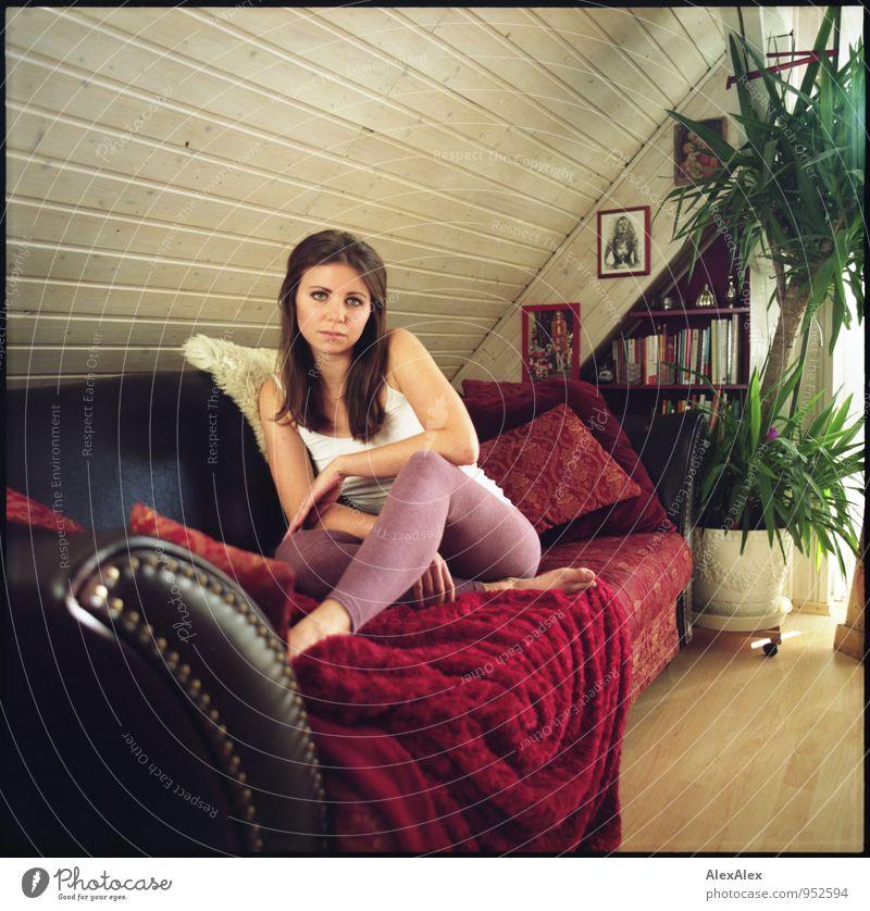couchsurferin im heimathafen Wohnung Wohnzimmer Penthouse Junge Frau Jugendliche Barfuß 18-30 Jahre Erwachsene Topfpflanze Leggings Unterhemd brünett langhaarig