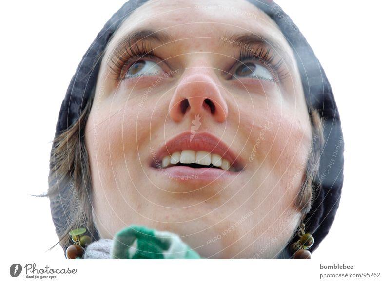 Guck in die Luft Frau Auge lachen Haare & Frisuren braun Mütze Nordsee Wimpern Schal Ohrringe
