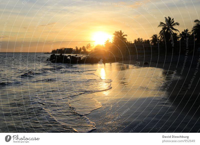 Nur das Rauschen des Meeres... Himmel Natur Ferien & Urlaub & Reisen blau weiß Wasser Sommer Sonne Erholung Landschaft Wolken Strand Ferne schwarz gelb