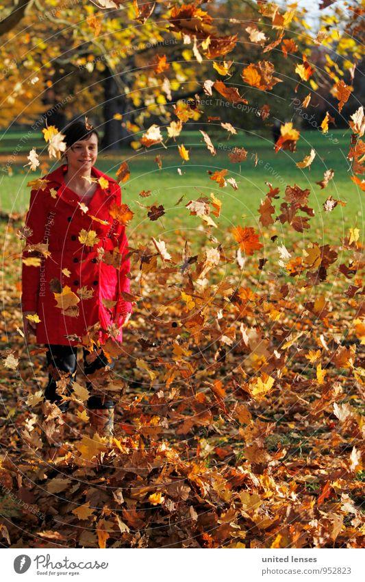 AK# Herbstregen Frau rot Blatt Kunst Zufriedenheit ästhetisch viele Herbstlaub herbstlich Mantel Herbstfärbung Herbstbeginn Laubbaum Herbstwetter Laubwald
