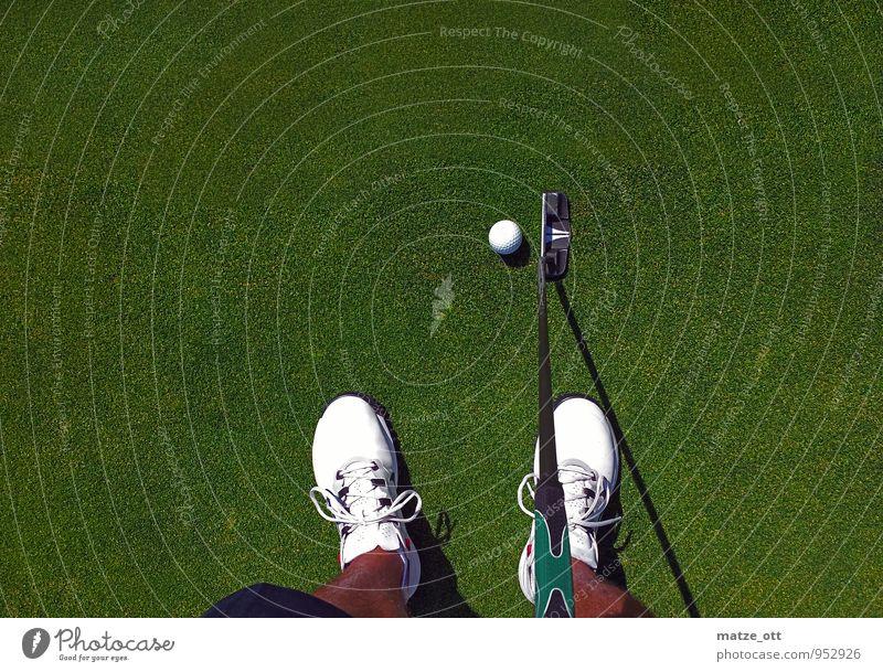Einlochen .... aber wo ?? Minigolf Golfplatz Golfball Golfschläger Putter Sport Ball Junger Mann Jugendliche Erwachsene Beine Fuß 1 Mensch Sommer Gras Wiese