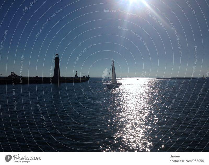 Eriesee Natur Wasser Himmel Wolkenloser Himmel Sonne Sonnenlicht Sommer Schönes Wetter Wärme Seeufer Buffalo USA Amerika Große Seen Menschenleer Schifffahrt