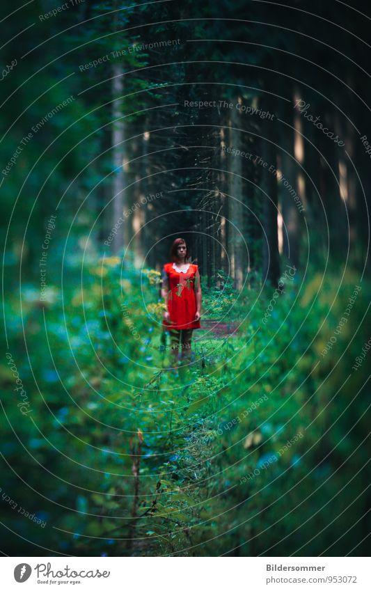 . feminin Junge Frau Jugendliche Erwachsene 1 Mensch 18-30 Jahre Natur Wald Kleid atmen Blick stehen gelb grün rot Sehnsucht Einsamkeit gefährlich Zufriedenheit