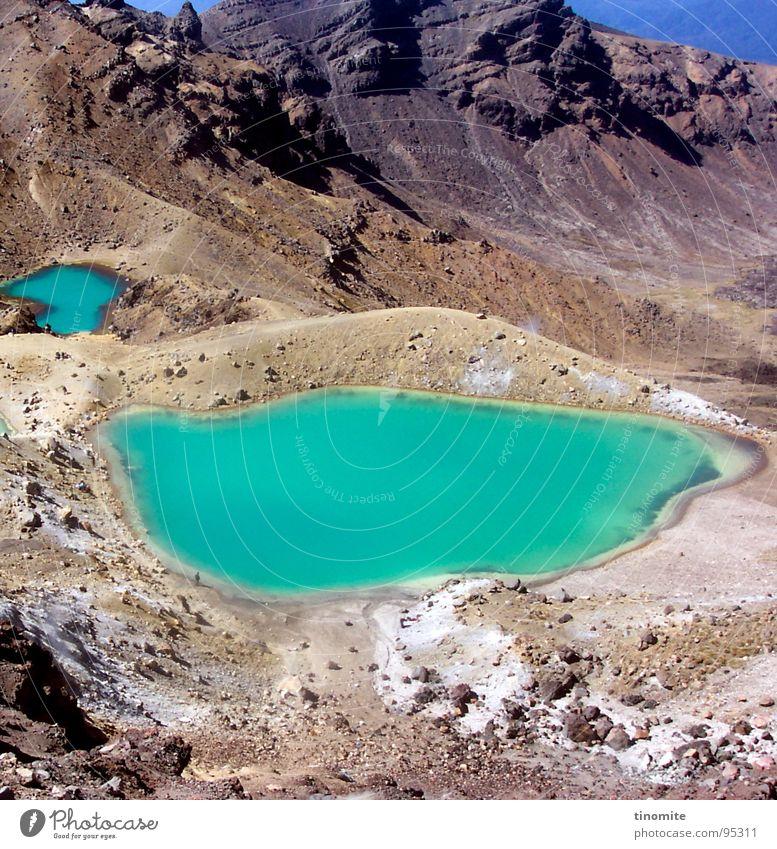 Fremde Landschaft Wasser grün blau Berge u. Gebirge grau Stein See Landschaft dünn türkis Vulkan Neuseeland Vulkankrater Mondlandschaft