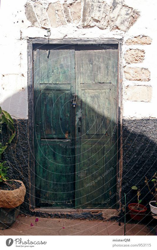 Grünholz. Kunst ästhetisch Zufriedenheit Tür Türrahmen Spanien mediterran alt verfallen Tor Eingang Eingangstür Eingangstor Farbfoto Gedeckte Farben